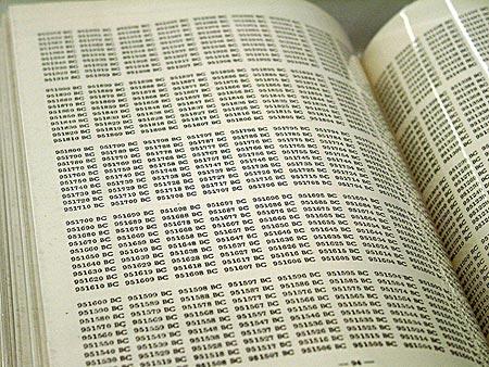 (Pagini din One Million Years (1999), o carte a artistului conceptual On Kawara.)